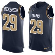 Wholesale Cheap Nike Rams #29 Eric Dickerson Navy Blue Team Color Men's Stitched NFL Limited Tank Top Jersey
