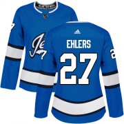 Wholesale Cheap Adidas Jets #27 Nikolaj Ehlers Blue Alternate Authentic Women's Stitched NHL Jersey