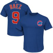 Wholesale Cheap Chicago Cubs #9 Javier Baez Majestic Official Name and Number T-Shirt Royal