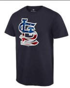 Wholesale Cheap Men's St.Louis Cardinals USA Flag Fashion T-Shirt Navy Blue