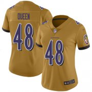 Wholesale Cheap Nike Ravens #48 Patrick Queen Gold Women's Stitched NFL Limited Inverted Legend Jersey