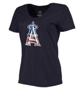 Wholesale Cheap Women\'s Los Angeles Angels USA Flag Fashion T-Shirt Navy Blue