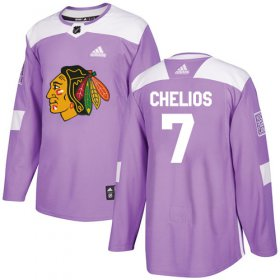 Wholesale Cheap Adidas Blackhawks #7 Chris Chelios Purple Authentic Fights Cancer Stitched NHL Jersey