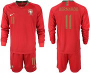 Wholesale Cheap Portugal #11 Bernardo Home Long Sleeves Soccer Country Jersey