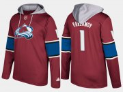 Wholesale Cheap Avalanche #1 Semyon Varlamov Burgundy Name And Number Hoodie