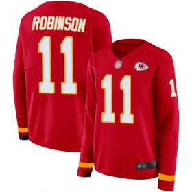Wholesale Cheap Nike Chiefs #11 Demarcus Robinson Red Team Color Women\'s Stitched NFL Limited Therma Long Sleeve Jersey