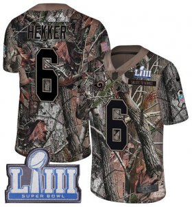Wholesale Cheap Nike Rams #6 Johnny Hekker Camo Super Bowl LIII Bound Men\'s Stitched NFL Limited Rush Realtree Jersey