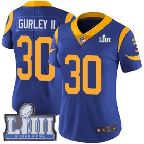 Wholesale Cheap Nike Rams #30 Todd Gurley II Royal Blue Alternate Super Bowl LIII Bound Women\'s Stitched NFL Vapor Untouchable Limited Jersey