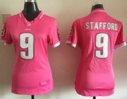Wholesale Cheap Nike Lions #9 Matthew Stafford Pink Women's Stitched NFL Elite Bubble Gum Jersey