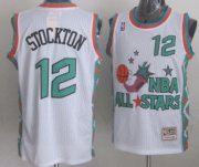 Wholesale Cheap NBA 1996 All-Star #12 John Stockton White Swingman Throwback Jersey