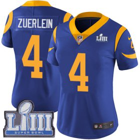 Wholesale Cheap Nike Rams #4 Greg Zuerlein Royal Blue Alternate Super Bowl LIII Bound Women\'s Stitched NFL Vapor Untouchable Limited Jersey