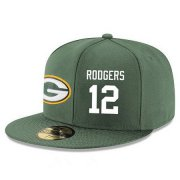 Wholesale Cheap Green Bay Packers #12 Aaron Rodgers Snapback Cap NFL Player Green with White Number Stitched Hat