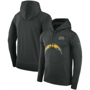 Wholesale Cheap NFL Men's Los Angeles Chargers Nike Anthracite Crucial Catch Performance Pullover Hoodie