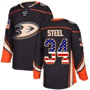 Wholesale Cheap Adidas Ducks #34 Sam Steel Black Home Authentic USA Flag Youth Stitched NHL Jersey