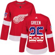 Wholesale Cheap Adidas Red Wings #25 Mike Green Red Home Authentic USA Flag Women's Stitched NHL Jersey