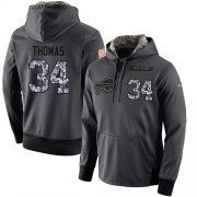 Wholesale Cheap NFL Men's Nike Buffalo Bills #34 Thurman Thomas Stitched Black Anthracite Salute to Service Player Performance Hoodie
