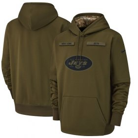 Wholesale Cheap Youth New York Jets Nike Olive Salute to Service Sideline Therma Performance Pullover Hoodie