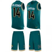 Wholesale Cheap Nike Jaguars #14 Justin Blackmon Teal Green Alternate Men's Stitched NFL Limited Tank Top Suit Jersey