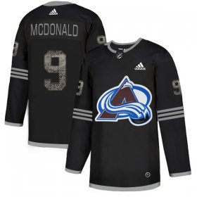 Wholesale Cheap Adidas Avalanche #9 Lanny McDonald Black Authentic Classic Stitched NHL Jersey
