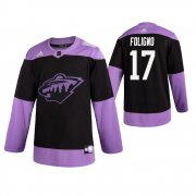 Wholesale Cheap Adidas Wild #17 Marcus Foligno Men's Black Hockey Fights Cancer Practice NHL Jersey