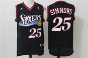 Wholesale Cheap Men's Philadelphia 76ers #25 Ben Simmons Black Retro Revolution 30 Swingman Adidas Basketball Jersey