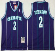 Wholesale Cheap Men's Charlotte Hornets #2 Larry Johnson 1992-93 Purple Hardwood Classics Soul Swingman Throwback Jersey