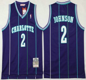 Wholesale Cheap Men\'s Charlotte Hornets #2 Larry Johnson 1992-93 Purple Hardwood Classics Soul Swingman Throwback Jersey