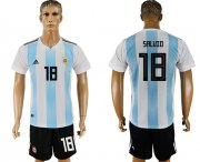 Wholesale Cheap Argentina #18 Salvio Home Soccer Country Jersey