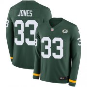 Wholesale Cheap Nike Packers #33 Aaron Jones Green Team Color Men's Stitched NFL Limited Therma Long Sleeve Jersey