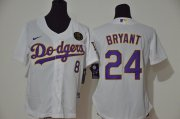 Wholesale Cheap Los Angeles Dodgers #8 #24 Kobe Bryant Women Nike White Purple No. Cool Base 2020 KB Patch MLB Jersey
