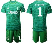 Wholesale Cheap Juventus #1 Szczesny Green Goalkeeper Soccer Club Jersey