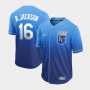 Wholesale Cheap Nike Royals #16 Bo Jackson Royal Fade Authentic Stitched MLB Jersey