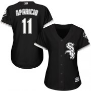 Wholesale Cheap White Sox #11 Luis Aparicio Black Alternate Women's Stitched MLB Jersey