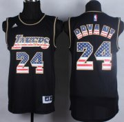 Wholesale Cheap Los Angeles Lakers #24 Kobe Bryant Revolution 30 Swingman 2014 USA Flag Fashion Black Jersey