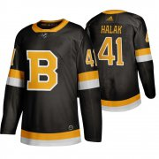 Wholesale Cheap Adidas Boston Bruins #41 Jaroslav Halak Black 2019-20 Authentic Third Stitched NHL Jersey