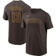 Wholesale Cheap San Diego Padres #13 Manny Machado Nike Name & Number T-Shirt Brown Gold