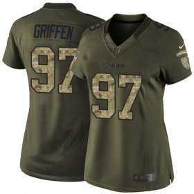 Wholesale Cheap Nike Vikings #97 Everson Griffen Green Women\'s Stitched NFL Limited 2015 Salute to Service Jersey
