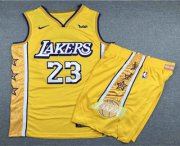Wholesale Cheap Men's Los Angeles Lakers #23 LeBron James Yellow 2020 Nike City Edition Swingman Jersey With Shorts