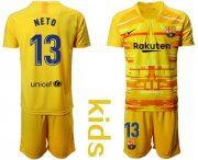 Wholesale Cheap Barcelona #13 Neto Yellow Goalkeeper Kid Soccer Club Jersey