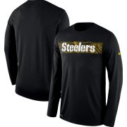 Wholesale Cheap Pittsburgh Steelers Nike Sideline Seismic Legend Long Sleeve T-Shirt Black