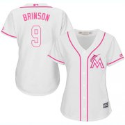 Wholesale Cheap Marlins #9 Lewis Brinson White/Pink Fashion Women's Stitched MLB Jersey
