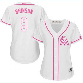 Wholesale Cheap Marlins #9 Lewis Brinson White/Pink Fashion Women\'s Stitched MLB Jersey