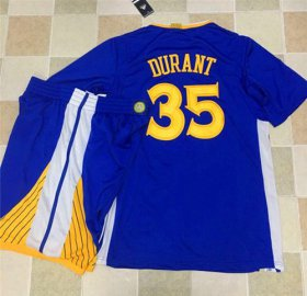 Wholesale Cheap Warriors #35 Kevin Durant Blue Long Sleeve A Set Stitched NBA Jersey