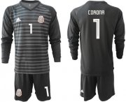 Wholesale Cheap Mexico #1 Corona Black Long Sleeves Goalkeeper Soccer Country Jersey