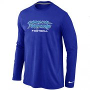 Wholesale Cheap Nike Carolina Panthers Authentic Font Long Sleeve T-Shirt Blue