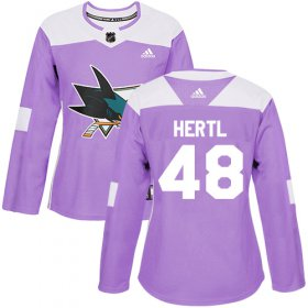 Wholesale Cheap Adidas Sharks #48 Tomas Hertl Purple Authentic Fights Cancer Women\'s Stitched NHL Jersey