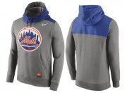 Wholesale Cheap Men's New York Mets Nike Gray Cooperstown Collection Hybrid Pullover Hoodie