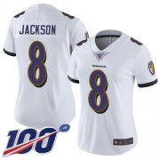Wholesale Cheap Nike Ravens #8 Lamar Jackson White Women's Stitched NFL 100th Season Vapor Limited Jersey