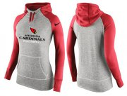 Wholesale Cheap Women's Nike Arizona Cardinals Performance Hoodie Grey & Red_2