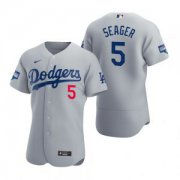Wholesale Cheap Los Angeles Dodgers #5 Corey Seager Gray 2020 World Series Champions Jersey